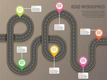 Infographics mall med färdplanen genom att använda pekare Vektorbeståndsdelar för bästa sikt Blå himmel och bil Affär och resa vektor illustrationer