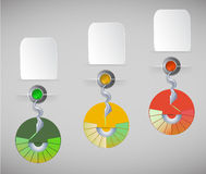 Infographics mall med knappar, baner och cirkulärdiagram Arkivfoton