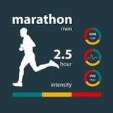 Infographics man running marathon Stock Image