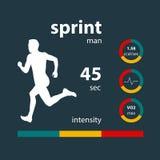 Infographics man running sprint Stock Image