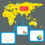 An infographics with a map Stock Photo