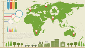 An infographics with a map Royalty Free Stock Photography