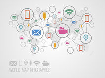 Infographics map with symbols. And space for text for presentations, web design and business Stock Image