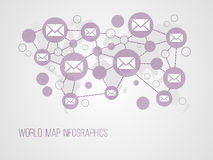 Infographics map with symbols. And space for text for presentations, web design and business Royalty Free Stock Photo
