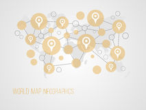 Infographics map with symbols. And space for text for presentations, web design and business Royalty Free Stock Photography