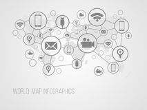 Infographics map with symbols. And space for text for presentations, web design and business Royalty Free Stock Images
