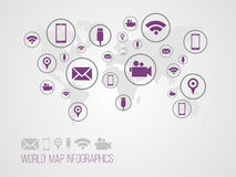 Infographics map with symbols. And space for text for presentations, web design and business Royalty Free Stock Image