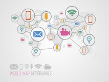 Infographics map with symbols. And space for text for presentations, web design and business Stock Photography