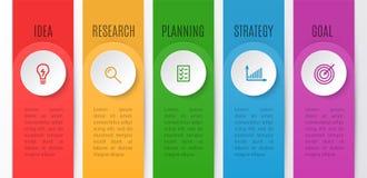 Infographics mapa dla biznesowego kreatywnie pojęcia Linia czasu z 5 krokami Wektorowa ilustracja infographic element dla royalty ilustracja