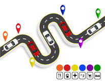 Infographics. Marks navigator. Winding road with markings. Cars. Top view with shadow. illustration Royalty Free Stock Images