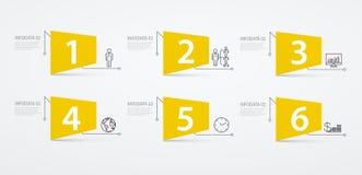 Infographics marque 6 options ou étapes Concept d'affaires, schéma fonctionnel illustration stock