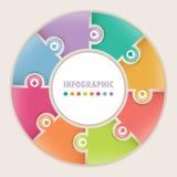Infographics med det runda pusslet för åtta alternativ Fotografering för Bildbyråer