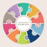 Infographics med det runda pusslet för tio alternativ vektor illustrationer