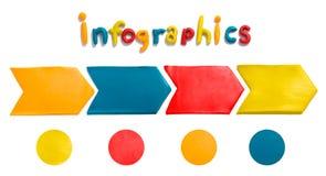 Infographics med pilar som göras av plasticine Arkivfoto