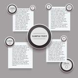 Infographics med runda- och rektangelklistermärkear i svartvita färger Arkivbild