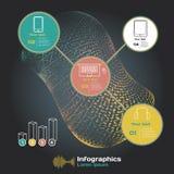 Infographics med solida vågor på en mörk bakgrund på tema royaltyfri illustrationer