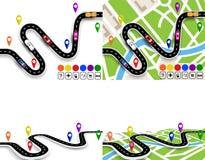 Infographics Mening vanuit hierboven en in perspectief Reeks van het winden van wegen met tekens Kaarten van de stad Beweging van stock illustratie