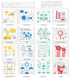 Infographics mini concept corporate managment icons for web. stock illustration