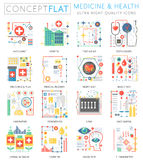 Infographics mini concept Medicine and health icons for web. Premium quality color conceptual flat design web graphics. Icons elements. Medicine health concepts Royalty Free Stock Image