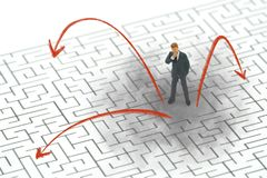 Infographics of Miniature people businessmen standing in the center of the maze. Business Idea Concepts Troubleshooting Analysis. Of problems to find solutions royalty free stock image