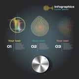 Infographics mit Schallwellen auf einem dunklen Hintergrund Stockbild