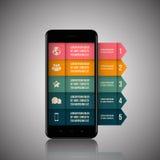 Infographics mobiltelefondata Arkivbilder