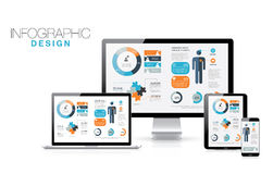 Infographics in modern realistic computers vector  Stock Images