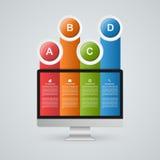 Infographics moderne avec le moniteur et les rubans colorés Photos libres de droits