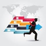 Infographics moderno con el hombre de negocios que sostiene la flecha Imagenes de archivo