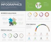 Infographics moderno de la visualización de los datos con los pedazos del rompecabezas libre illustration