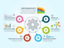 Infographics moderno di affari con le forme radiali Modello con i grafici, i grafici ed il posto per il vostro testo illustrazione di stock
