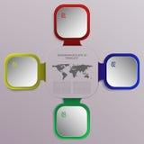 Infographics moderno di affari di quattro punti con i quadrati 3D e il worl illustrazione di stock