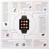 Infographics moderno do planeamento da gestão de tempo do trabalho Conceito do negócio Ilustração do vetor Fotos de Stock Royalty Free