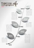 Infographics monocromatico di cronologia di vettore Fotografia Stock Libera da Diritti