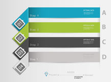 Infographics nummerierte Fahnen kann für Arbeitsflussplan verwendet werden, Stockfotos