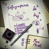 Infographics od poszarpanych kawałków papieru w rocznika stylu ilustracji