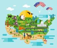 Infographics om Amerika också vektor för coreldrawillustration Royaltyfri Fotografi