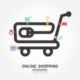 Infographics online het winkelen de lijnstijl van het ontwerpdiagram Royalty-vrije Stock Foto