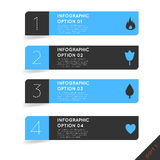 Infographics opcj sztandaru kroki ustawiający z ikonami Zdjęcia Stock