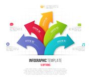 Infographics with 5 option branching circular arrows. Vector tem. Plate for presentations, data visualization, layouts, annual reports, web design Royalty Free Stock Photos