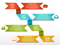 Infographics options banner. Modern infographics options banner with 4 paper ribbon and icons on white background. Can be used for workflow layout, business vector illustration