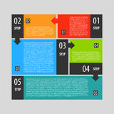 Infographics options banner steps set. Abstract modern dark  illustration for games presentations, ui tablets, smart phones Royalty Free Stock Photo