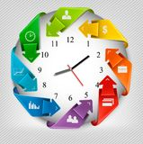 Infographics origami clock with icons. Royalty Free Stock Images