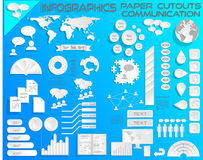 Infographics Paper Cutouts Communications EPS10. All objects grouped separately and easy to edit, EPS10 Source Map Reference: Software: Illustrator CS, Created royalty free illustration