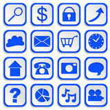 Infographics Paper Cutouts Web Icons Blue EPS10 Stock Image