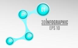 Infographics para los proyectos del negocio Diagrama brillante en el estilo 3d Bolas volumétricas, brillantes con números de opci stock de ilustración