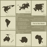 Infographics parts of the world in the earth stock illustration