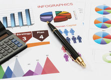 Infographics pen and calculator. Image of infographics for business report with pen and calculator Stock Photos