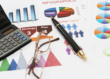 Infographics pen glasses and calculator. Image of infographics for business report with pen glasses and calculator Stock Images