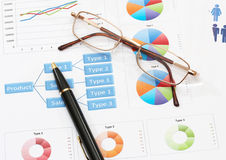 Infographics pen and glasses. Image of infographics for business report with pen and glasses Royalty Free Stock Photos
